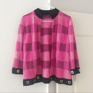 MING WANG Pink Checkered Blazer Cardigan SZ M